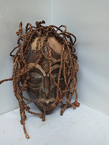 Antique Chokwe Dreadlocks Mask From Congo and Angola 12x8 in