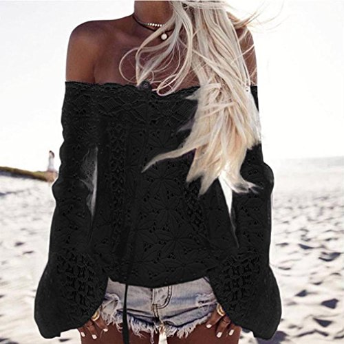 6e86238b19 Women Blouse, TOPUNDER Off Shoulder Long Sleeve Lace Loose Tops T ...