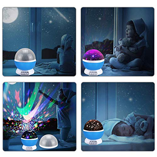Best Top Popular Toys for 2-10 Year Old Boys, Ouwen Star Rotating Night Light for Kids Hot Top Christmas Toys 2018 2-10 Year Old Girls Boys Gifts Blue Stocking Fillers OWUSNL001