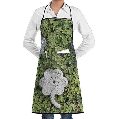 Shamrock Crochet Pattern Aprons Bib for Mens Womens Artist Lace Adjustable Adult Kitchen Waiter Aprons with Pockets ()