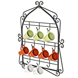 Wall Mounted 10 Hooks Mug Display Rack with Decorative Metal Scrollwork Design, Black