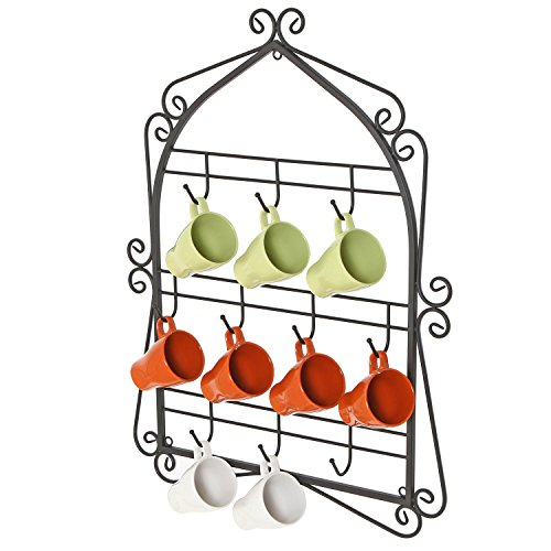 Wall Mounted 10 Hooks Mug Display Rack with Decorative Metal Scrollwork Design, Black by MyGift