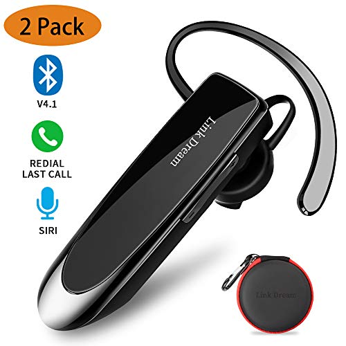 Link Dream Bluetooth Earpiece for Cell Phone Hands Free Wireless Headset Noise Cancelling Mic 24Hrs Talking 1440Hrs Standby Compatible with iPhone Samsung Android for Driver Trucker (2 Pack) (Best Bluetooth Earpiece For Android)