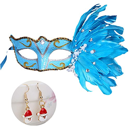 Fashion Christmas Halloween Festival Costume Party Feather Mask,
