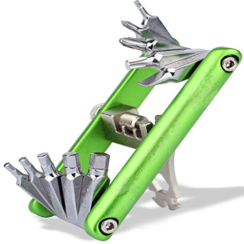 H5 Bike Tools 16 in 1 Multifunction Bicycle Maintenance Multitool with Sheath for Common Road and Trail-side Repairs by H5