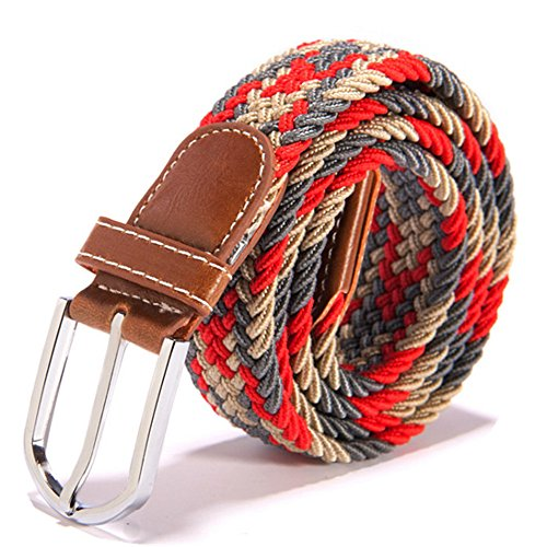 RevoLity Mens Multicolor Elastic Fabric Woven Braided Stretch Webbed Belt with PU Leather Buckle Length 105cm Colour (Red)