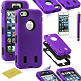 Fulland Hybrid Body Armor Silicone + Hard Case Cover for Apple iPhone 5 5S Plus Stylus Pen and Screen Protector-Purple