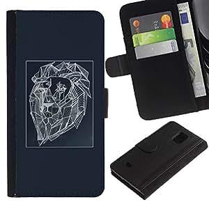 iBinBang / Flip Funda de Cuero Case Cover - Pintura del león del arte abstracto - Samsung Galaxy S5 Mini, SM-G800, NOT S5 REGULAR!