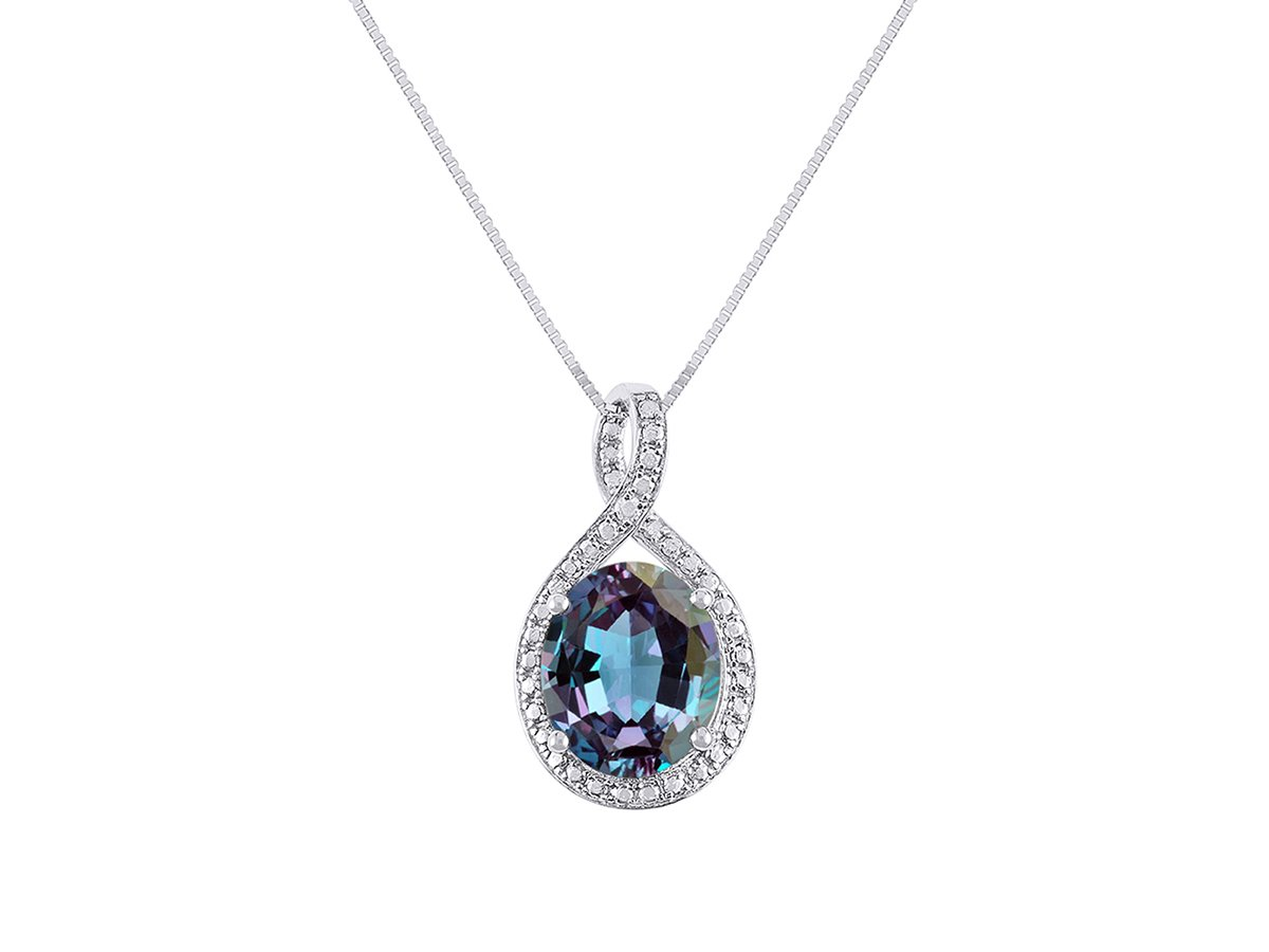 Diamond & Simulated Alexandrite Pendant Necklace in 14K White Gold With 18'' Gold Chain - June Birthstone 12X10 Oval Color Stone Halo Designer by Rylos