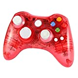 xbox 360 led controller - WirelessControllerforXbox360,WetophGD02AfterglowPCControllerwith8LEDLightsTransparentWirelessGamepadCompatiblewithXbox360andPC-Red