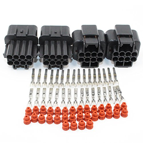EMeskymall 2 Set 8Pin Way Car Auto Motorcycle Waterproof Electrical Wire Connector Plug -