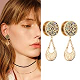 YIDULA Ear Gauges Dangle Plugs Tunnels for Ears Gold Reamer Hollow Flower Surgical Steel Screw Dilation Piercing Expander (1/2''(12mm))