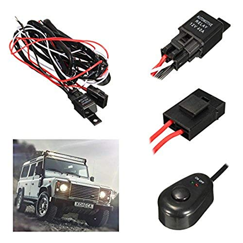Kungfu Mall 2.5M LED Work Light Relay Wire Harness Loom Fuse Switch DC12V 40A for Offroad SUV Truck: