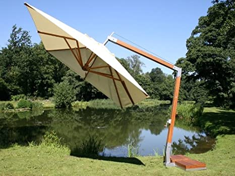 Lado-viento Bambrella 3, 4 m cuadrado de pared en voladizo para sombrilla - Beige: Amazon.es: Jardín