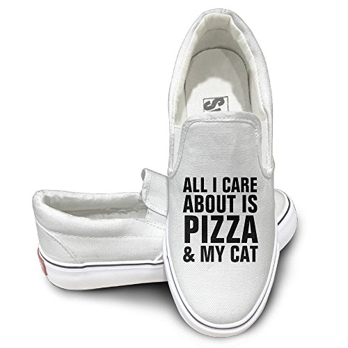SH-rong ALL I CARE ABOUT IS PIZZA MY CAT Unisex Canvas Sneakers Shoes Size 40 White