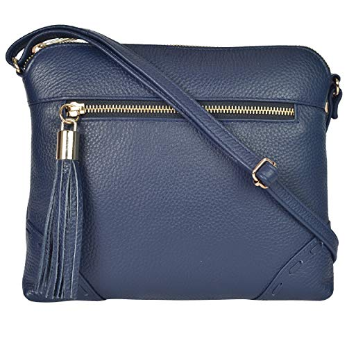 Leather Crossbody Bags For Women - Crossover Purse Over The Shoulder Womens Purses and Handbags Travel Saddle Bag by Estalon (Navy Pebble Zipper)