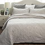 quilt set queen grey - Comfy Bedding Set Quilt Embroidered Full/Queen Quilt Set 90