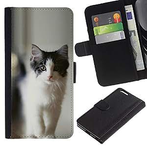 "OREGON-X (No Para IPHONE 6, 4.7"") Foto Ranura Tarjeta Cuero Ranura Tarjeta Voltear Duro Funda TPU Carcasas Para Smartphone Apple Iphone 6 PLUS 5.5 negro y gato gris"