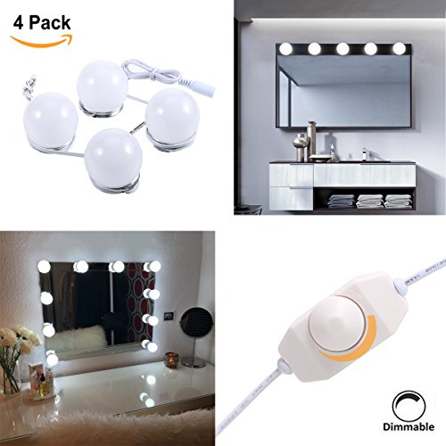 S&G Hollywood Super Star Style LED Vanity Makeup Mirror Lights Kit with Dimmable Light Bulbs for Dressing Table with Dimmer UL-Listed Power Supply, Linkable and Flexible Strip