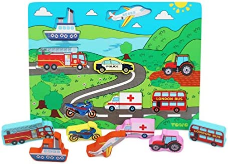 TOWO Wooden Transport Puzzle Board - Wooden Vehicle Peg Puzzle Inset Chunky Size - Wooden Toys Jigsaw Puzzle for 18 Months Toddler Baby First Puzzle
