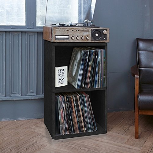 2 Shelf Open Cabinet / Bookshelf, Vinyl Record, CD, Magazines Storage Organizer Shelf, Eco Friendly, Closed Back, Paperboard Material, 15.0 In. X 18.0 In. X 30.0 In. - Black + Free (Paperboard Cd)