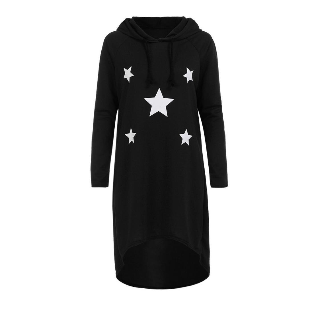 Sweatshirt Dress with Hood,Womens Long Hoodies Stars Printed Pullover Casual Dress Mini Dress (Black, Asian:M)