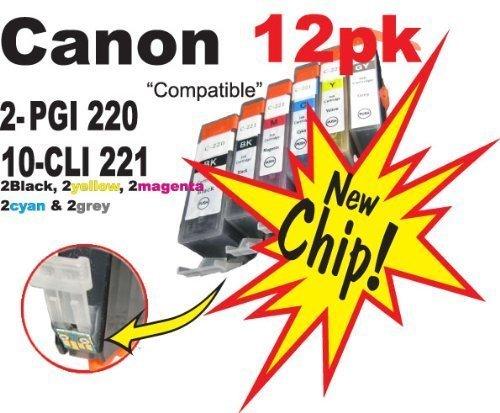 CLI-221 PGI-220 12pk NON-OEM compatible Ink Cartridge With CHIP! (2) PGI 220 black, (2) CLI 221 yellow, (2) CLI 221 cyan, (2) CLI 221 magenta, (2) CLI 221 black, (2) CLI 221 grey. Fits Canon All-in-One Machines PIXMA MP990 PIXMA MP980 only!