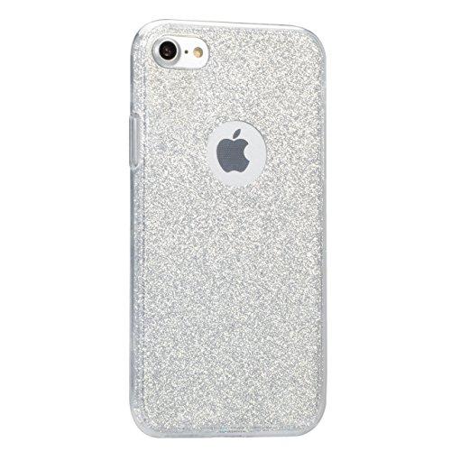 Bonice Funda Doble para iPhone 8 4.7 inches, Funda Silicona TPU de Alta Resistencia 360°protección completa casos Silicona Ultrafina y Flexible Totalmente Protectora Carcasa Protectora de Goma de Cali A-Blanco