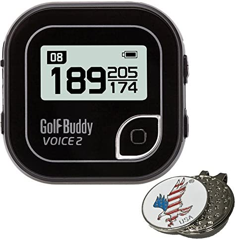 Bundle Golf Buddy Voice 2 GolfBuddy Voice2 Easy-to-Use Talking GPS Multi Colors 1 Custom Ball Marker Hat Clip Set American Eagle