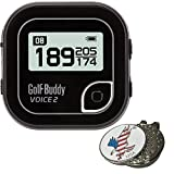 BUNDLE 2017 GOLFBUDDY VOICE2 VOICE 2 GOLF GPS RANGEFINDER CADDIE BLACK COMES WITH 1 CUSTOM BALL MARKER AND HAT CLIP SET - AMERICAN EAGLE