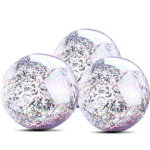 3 Pack Beach Balls Inflatable 24 Inch for Adults and Kids Glitter Jumbo Giant Confetti Transparent Balls for Family Children Sports and Outdoor Swimming Pools and Water Fun