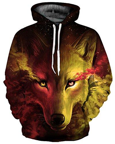 GLUDEAR Unisex Realistic 3D Digital Print Pullover Hoodie Hooded Sweatshirt,Yellow Wolf,XXL/3XL