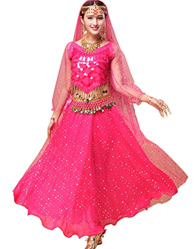 [Astage Women`s Professional Belly Dance Costume,Long Sleeve Tops With Skirt Hotpink,All Accessories] (Childrens Salsa Costumes)