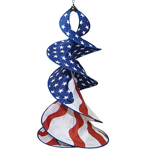 In the Breeze Patriot Spin Duet - Red, White and Blue Wind Spinner - Patriotic Hanging Decoration (American Flag Windsock)
