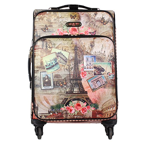 Nicole Lee Women's 20'' 4 Wheels Expandable Carry-on Luggage Eiffel Tower Print, Vintage European Stamp+K9 by Nicole Lee