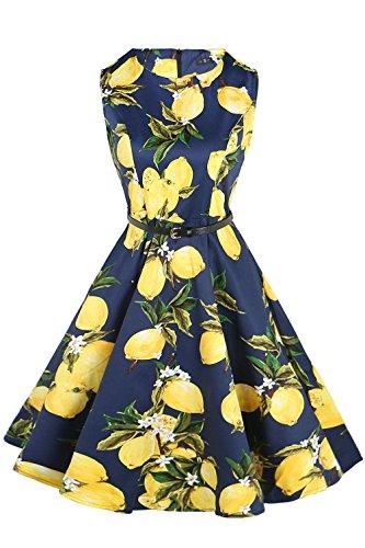 FitDesign Women's 1950s A Line Vintage Dresses Audrey Hepburn Style Floral Party Dress Dark Navy Lemon Flower Small
