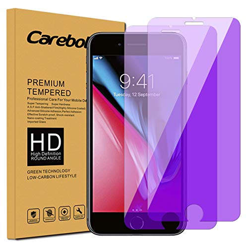 Carebol Anti Blue Light Tempered Glass Screen Protector for iPhone 8 Plus,7 Plus,6s Plus,6 Plus [5.5 inch] Eye Protect,Explosion-Proof Screen,High Definition[2-Pack]