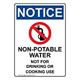 ComplianceSigns Vertical Vinyl OSHA NOTICE Non-Potable Water Not For Drinking Or Cooking Use Labels, 5 x 3.50 in. with English Text and Symbols, White, pack of 4