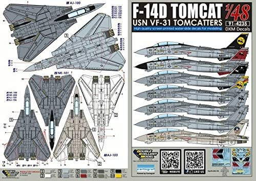 DXMデカール DXM-91-4235 1/48 USN F-14D Tomcat VF-31