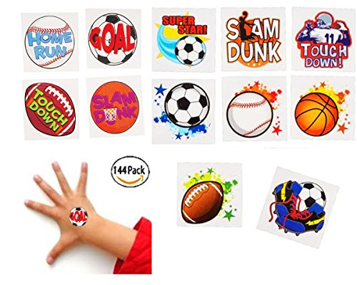Playo Kids Sports Tattoos - Pack of 144 Childrens Fake Tattoos - Assorted Sports Theme Design Temporary Tattoos - Great Sports Party (Sport Tattoos)