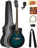 Yamaha APX600 Thin Body Acoustic-Electric Guitar - Oriental Blue Burst Bundle with Gig Bag, Tuner, Strings, Strap, Picks, Austin Bazaar Instructional DVD, and Polishing Cloth