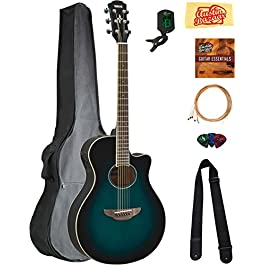 Yamaha APX600 Thin Body Acoustic-Electric Guitar – Oriental Blue Burst Bundle with Gig Bag, Tuner, Strings, Strap, Picks…