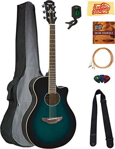 (Yamaha APX600 Thin Body Acoustic-Electric Guitar - Oriental Blue Burst Bundle with Gig Bag, Tuner, Strings, Strap, Picks, Austin Bazaar Instructional DVD, and Polishing Cloth)