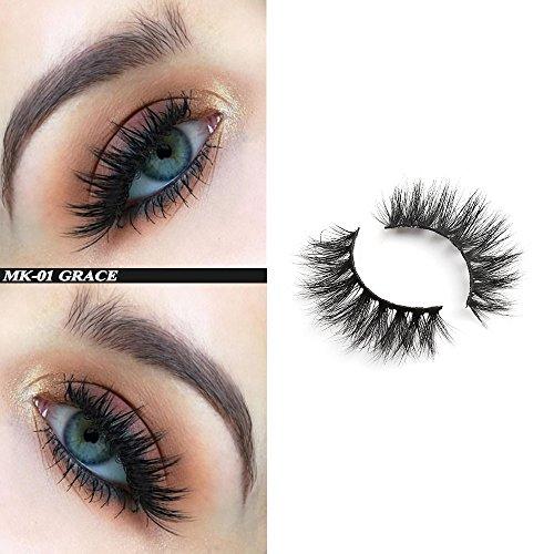 Demi Queen 100% 3D Siberian Mink Eyelashes Dramatic Handmade Reusable 3D Mink Fur Fake Eyelashes 1 Pair (MK01) (Demi Mink)