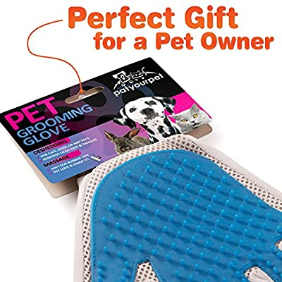 Pet Grooming Glove - Enhanced Five Finger Design - For Cat & Dog with Long & Short Fur - Gentle Deshedding Brush with Rubber Tips for Massage - Your Pet Will Love It by Pat Your Pet