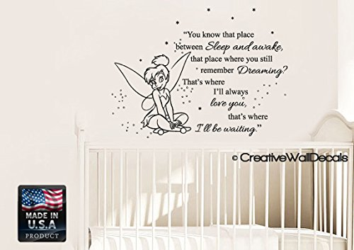 CreativeWallDecals Vinyl Wall Decal Sticker Bedroom Peter Pan Never Land Kids Tinkerbell Nursery r1545 ()