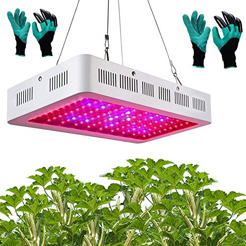 LED Full Spectrum Indoor 1200W Grow Light with 2 Garden Genie Gloves-As Seen On TV, Red Blue White IR UV Full Spectrum Grow Lights,Singlechip