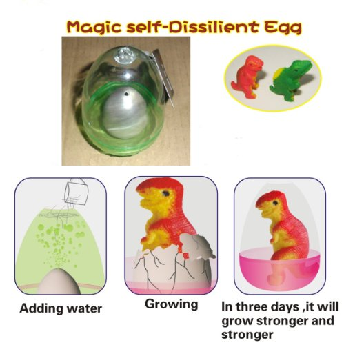 Magic self-Dissilient Dinosaur Egg (1). Color: SILVER, with Hatchery Dome Kit Ready to Hatch a New Born Baby Dinosaur.