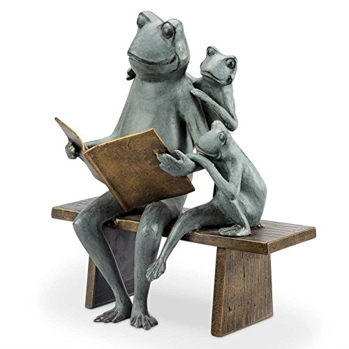 (Reading Frog Family Garden Sculpture)