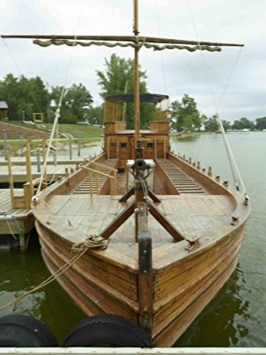 historic pictoric Photograph| Full-Size Replica of a keelboat at The Lewis & Clark State Park, on an Inlet of The Missouri River in Onawa, Iowa 1 Fine Art Photo Reproduction 44in x 60in